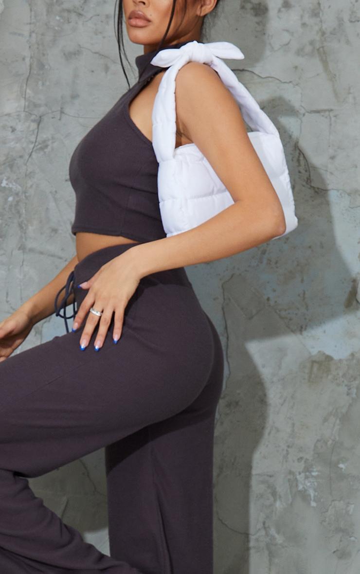 Charcoal Grey Soft Brushed Rib High Neck Sleeveless Crop Top & Wide Leg Trouser Set 4