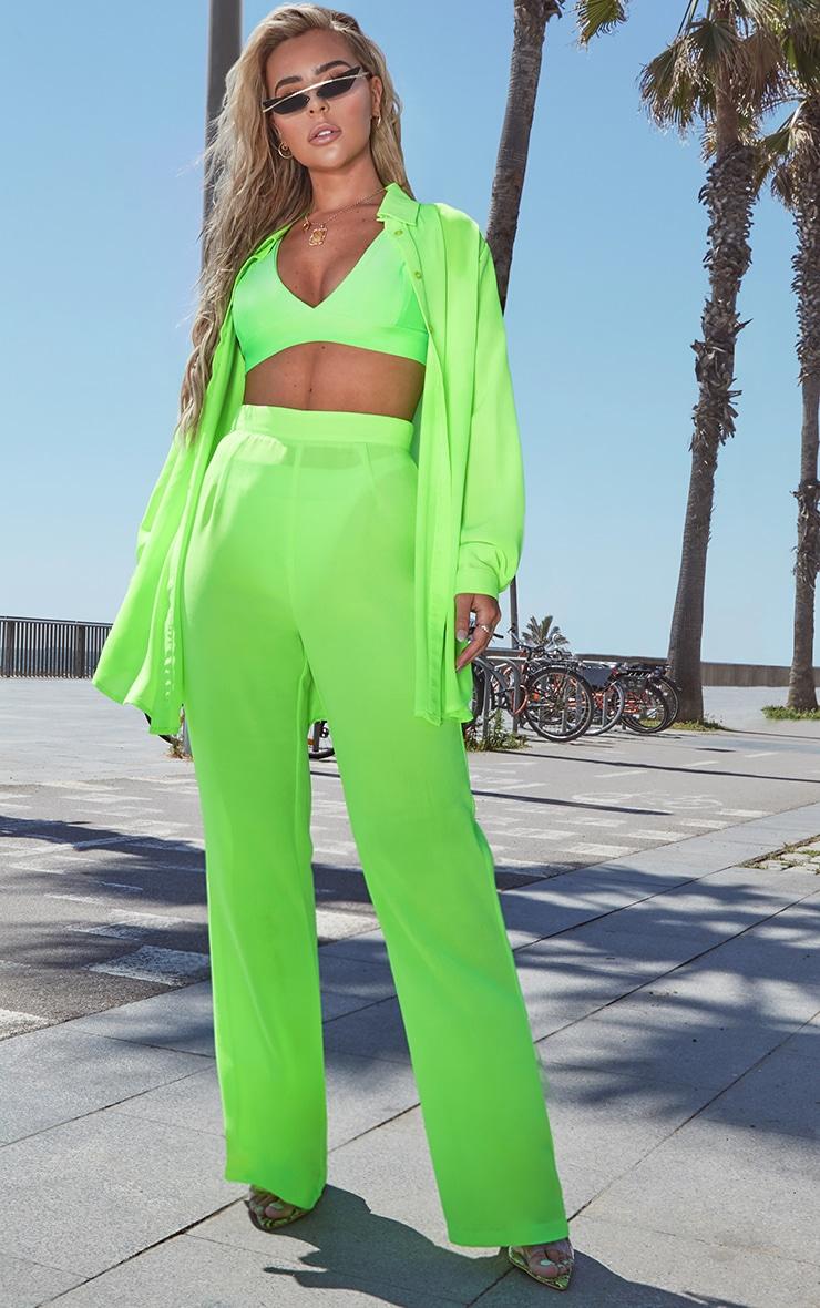 Petite Neon Green Beach Flares 1