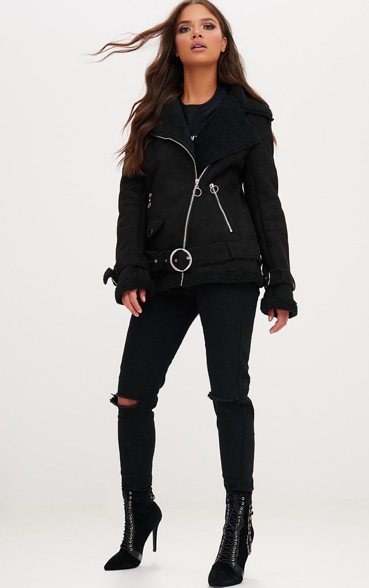 Black Ring Pull Faux Suede Aviator Coat 4