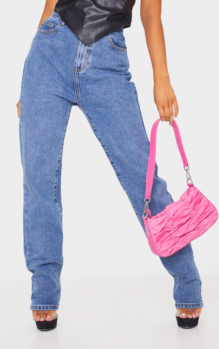 Mid Blue Wash Long Leg Straight Jeans image 2