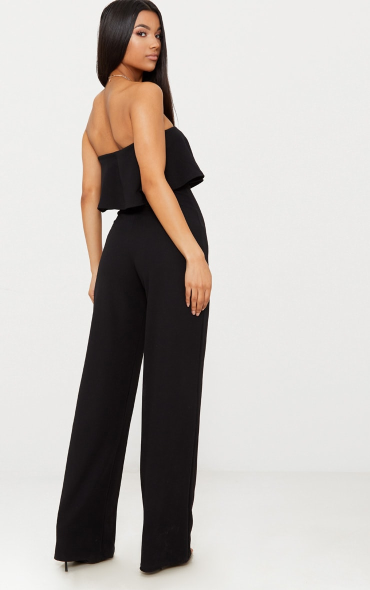 Black Bardot Double Layer Jumpsuit 2