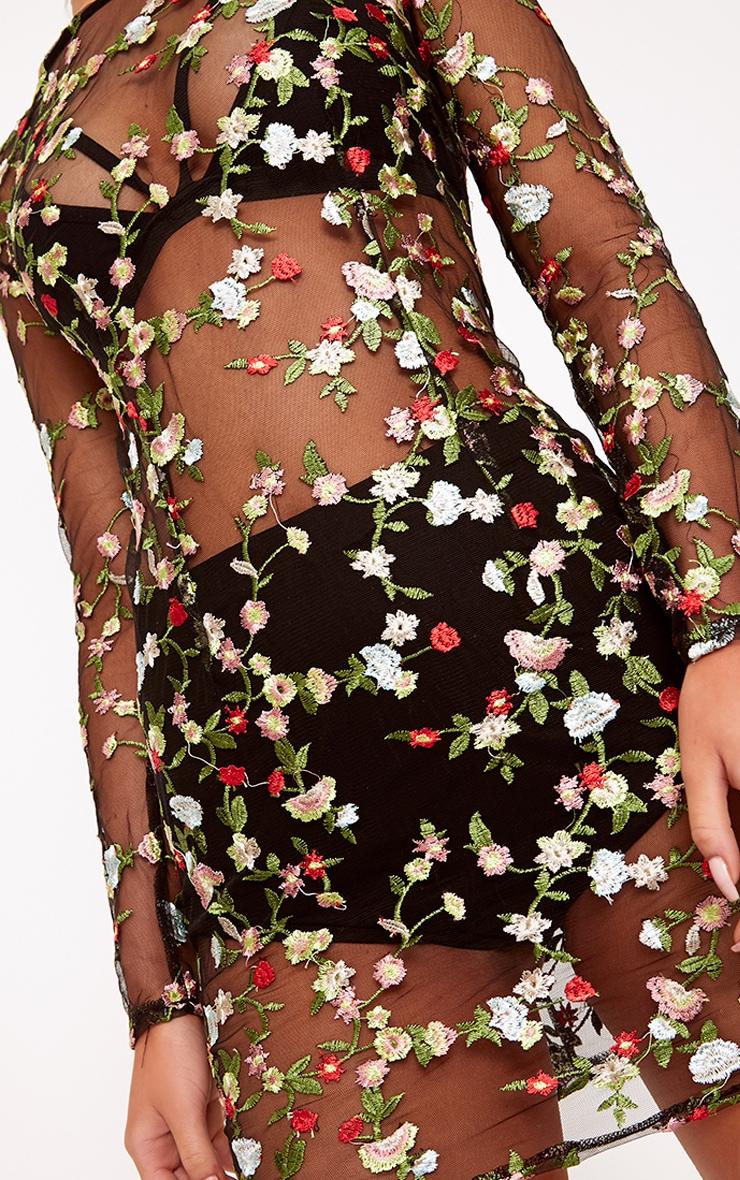 Marlie robe mini en dentelle transparente fleurie brodée noire 6