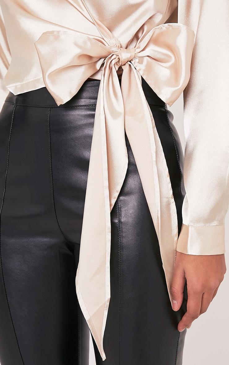 Alex Champagne Satin Wrap Cropped Blouse 6