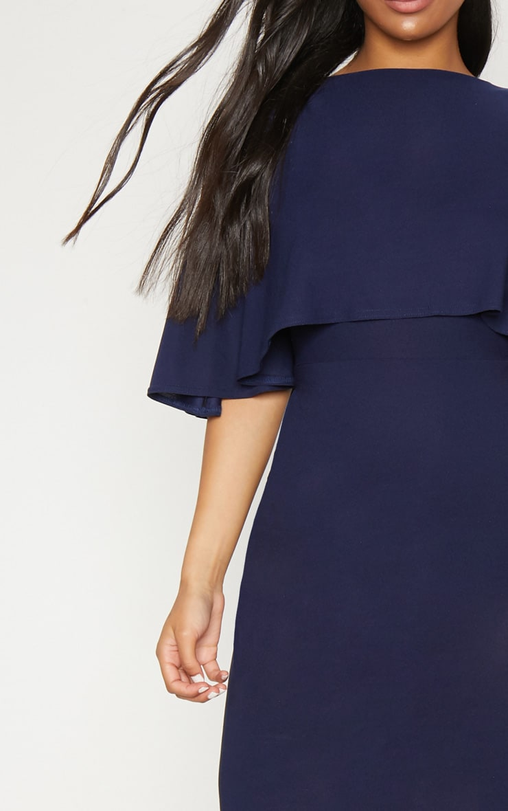 Navy One Shoulder Cape Detail Midi Dress 5