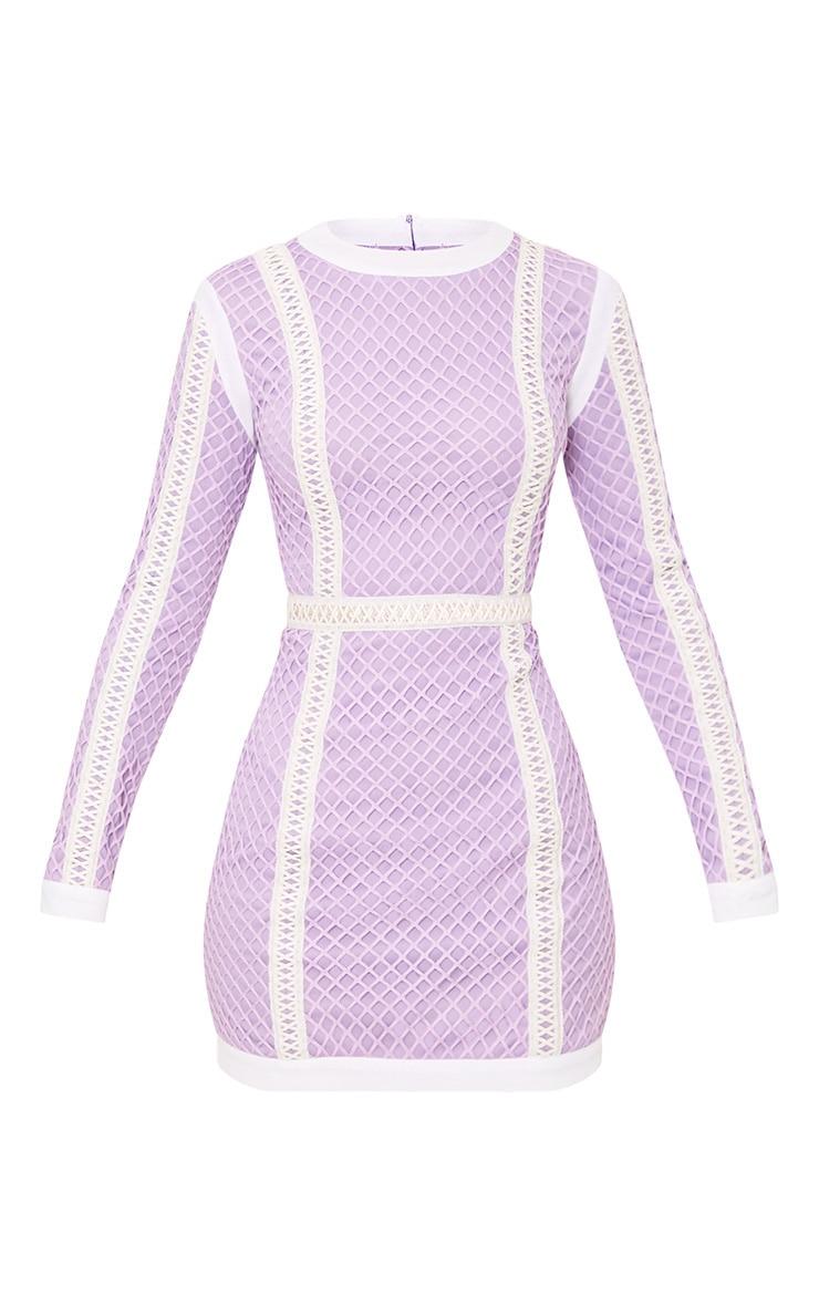 Thea Lilac Fishnet Panel Bodycon Dress 3