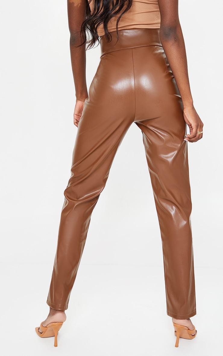 Tall Tan High Waisted Seam Detail PU Pants 3