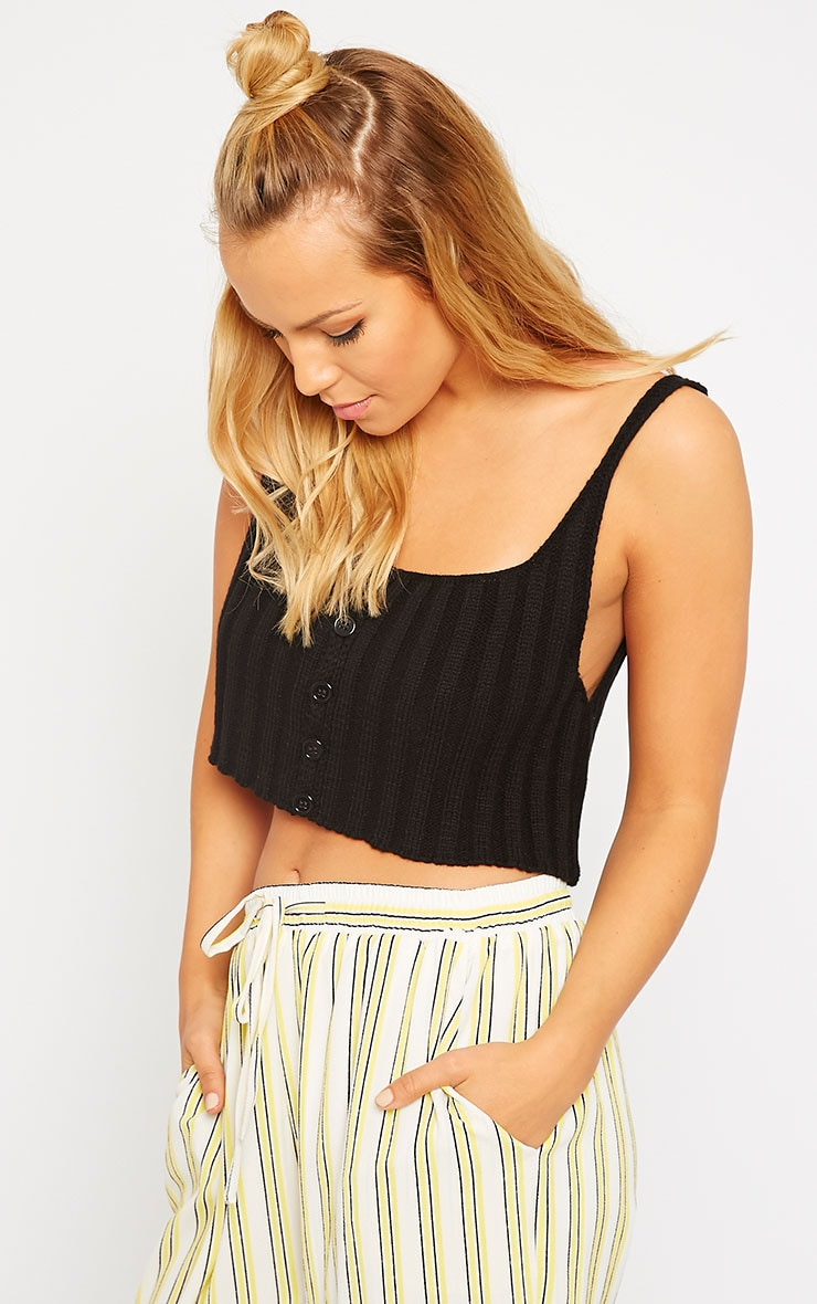 Susy Black Knitted Cropped Vest Top 4