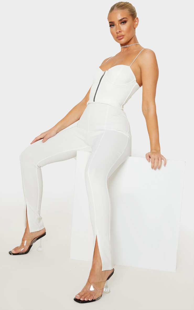 White Corset Zip Detail Split Hem Jumpsuit 4