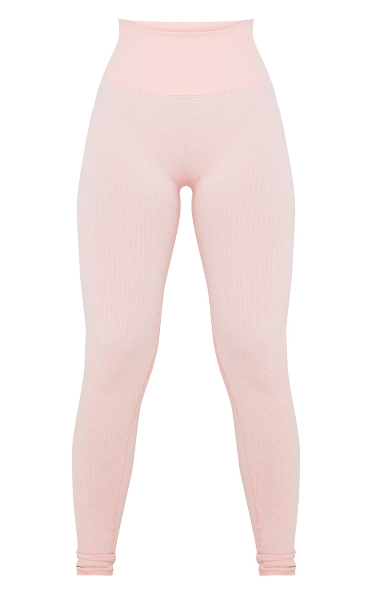Peach Ribbed Sports Legging 3