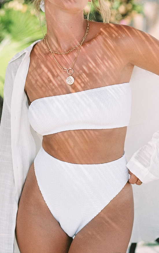 White Crinkle Bandeau Bikini Top 4