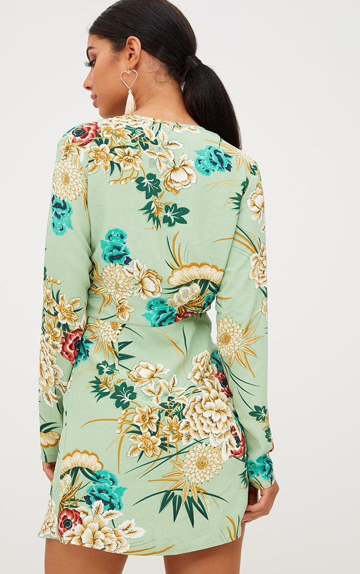 Sage Green Printed Long Sleeve Wrap Dress 2