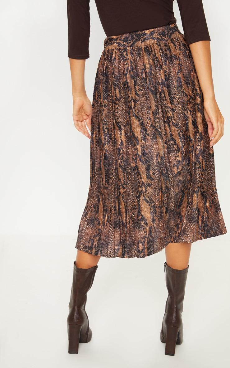 Snake Printed Pleat Midi Skirt 4