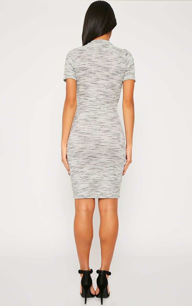 Ragna Grey Marl Short Sleeve High Neck Dress 2