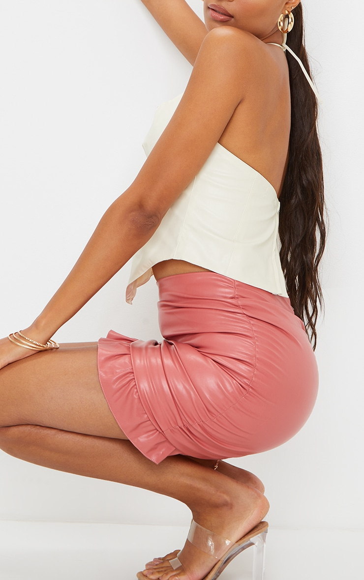 Pink Ruched Leather Mini Skirt 5