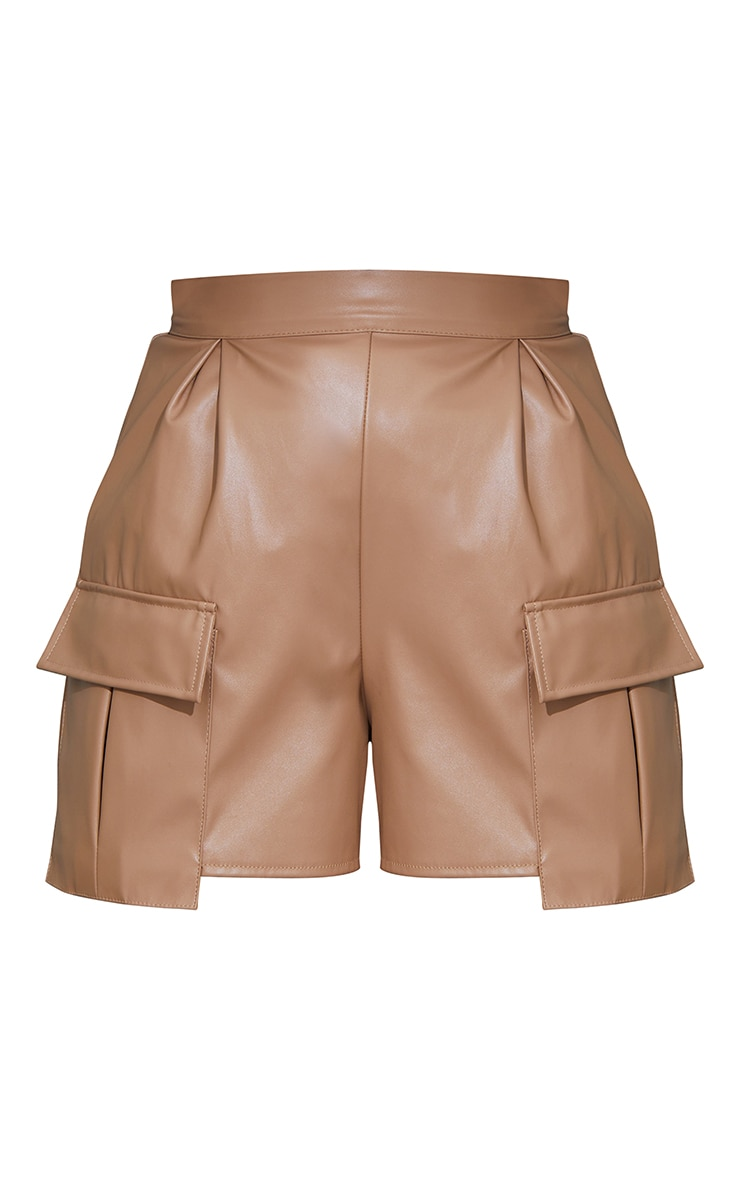 Camel Faux Leather Pocket Detail Pleated Shorts 6