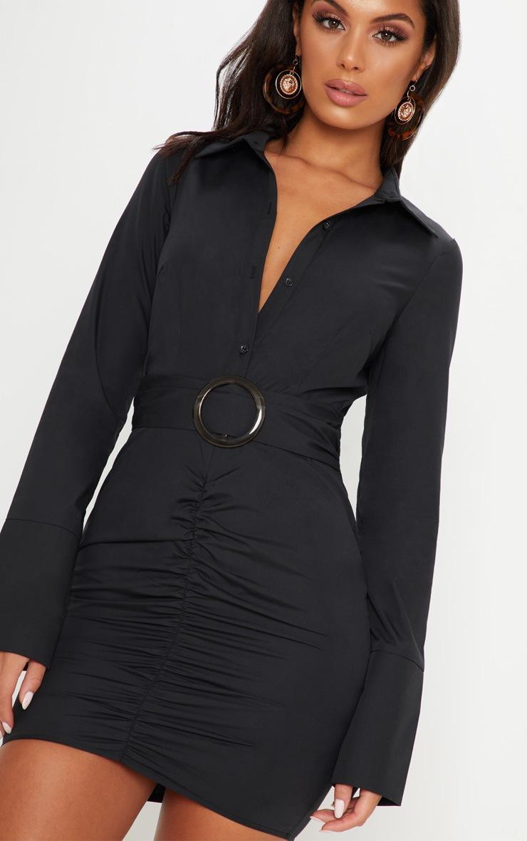 ba20d44d6f19b Black Plunge Ruched Tortoise Belted Bodycon Shirt Dress image 5