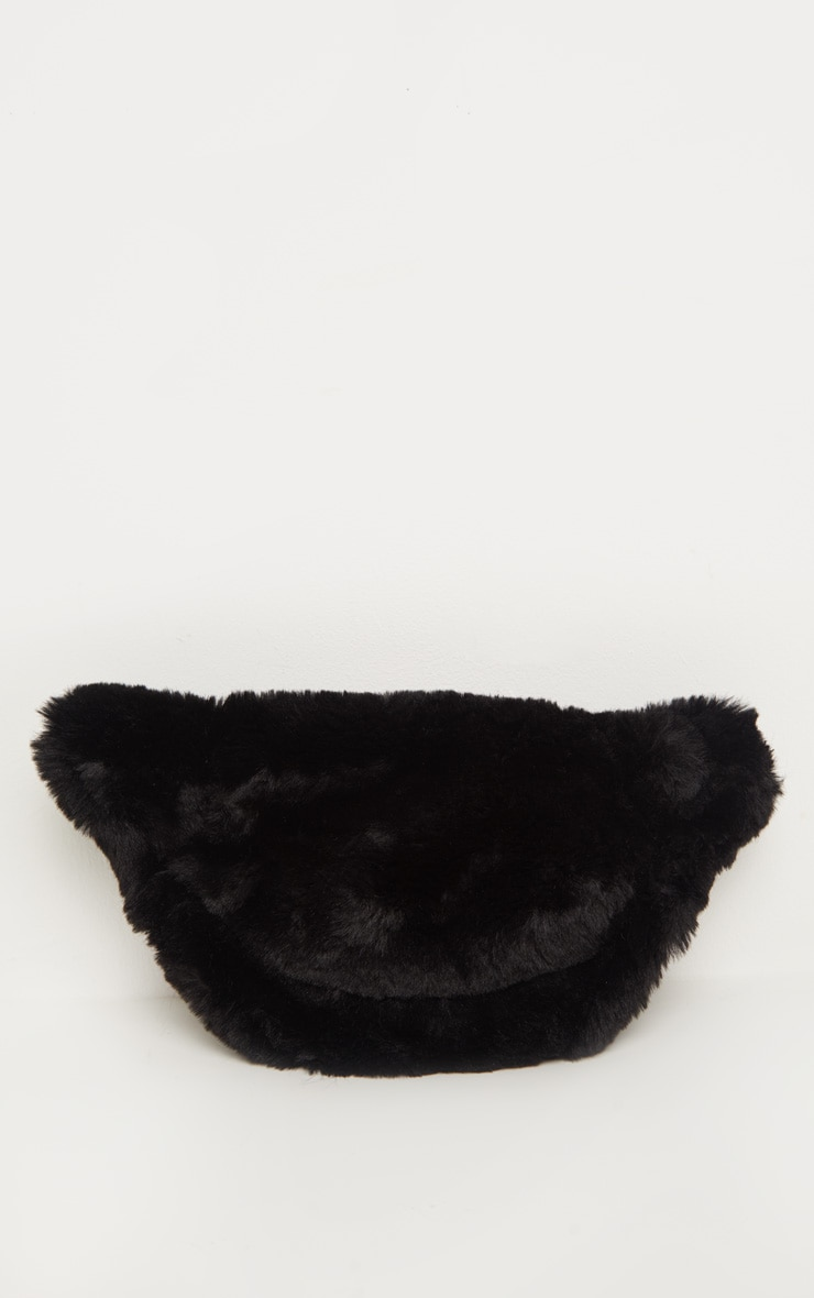 Black Faux Fur Front Bag 5