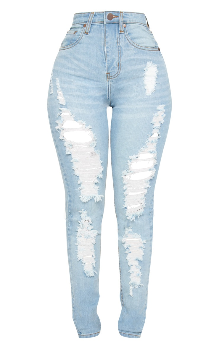 Tall  Light Wash Extreme Distressed Rip Mom Jeans 4
