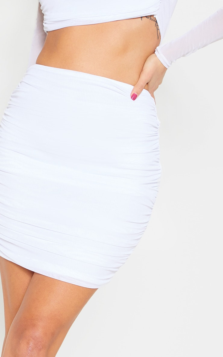 White Mesh Ruched Skirt 7