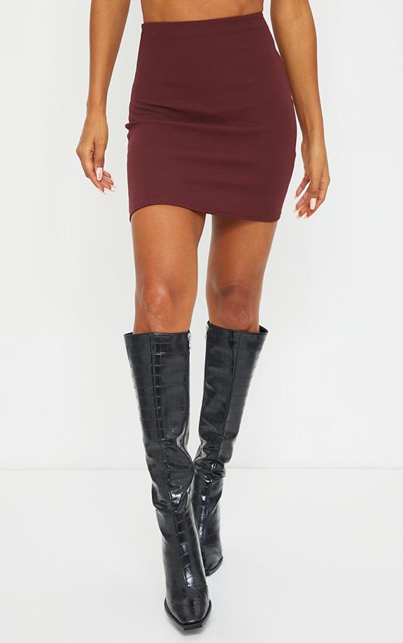 Burgundy Mini Suit Skirt 2