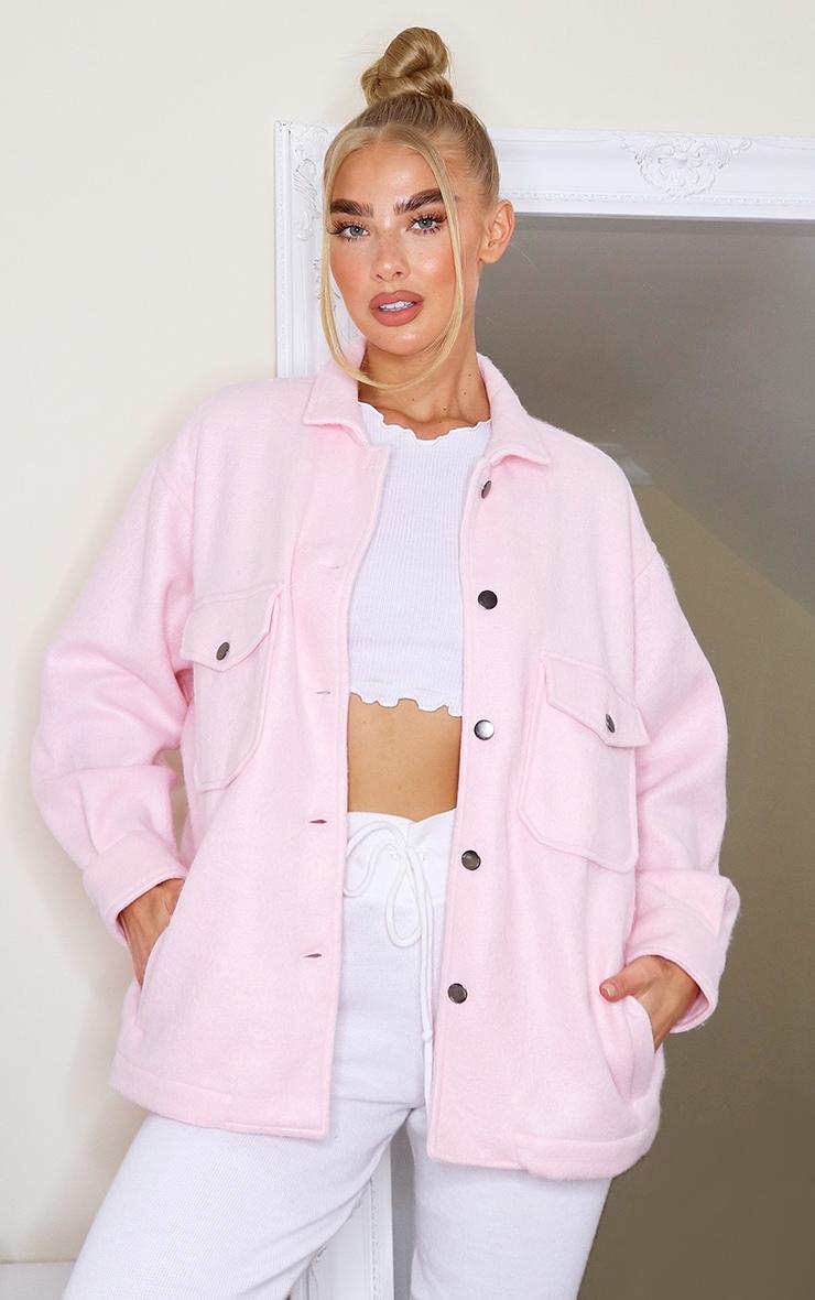 Pink Pocket Front Shacket image 1