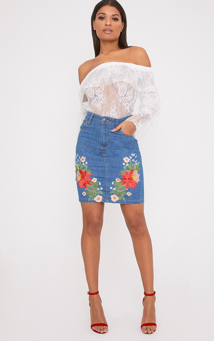 Seren Mid Wash Floral Embroidered Midi Skirt 5
