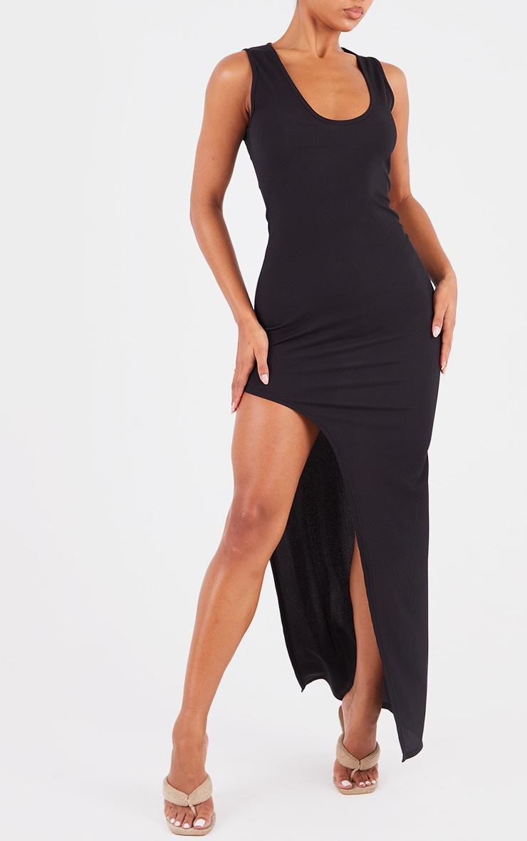 Black Ribbed V Plunge Sleeveless Midaxi Dress 4
