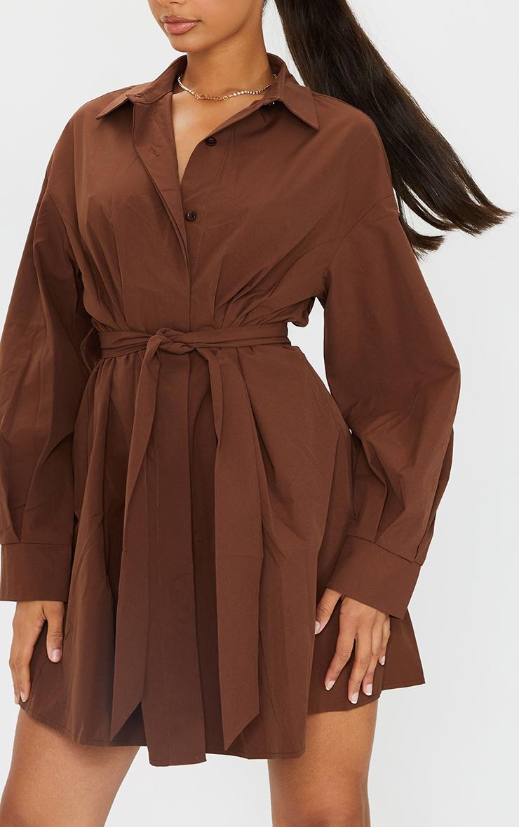 Chocolate Pleated Detail Button Down Shirt Dress 4