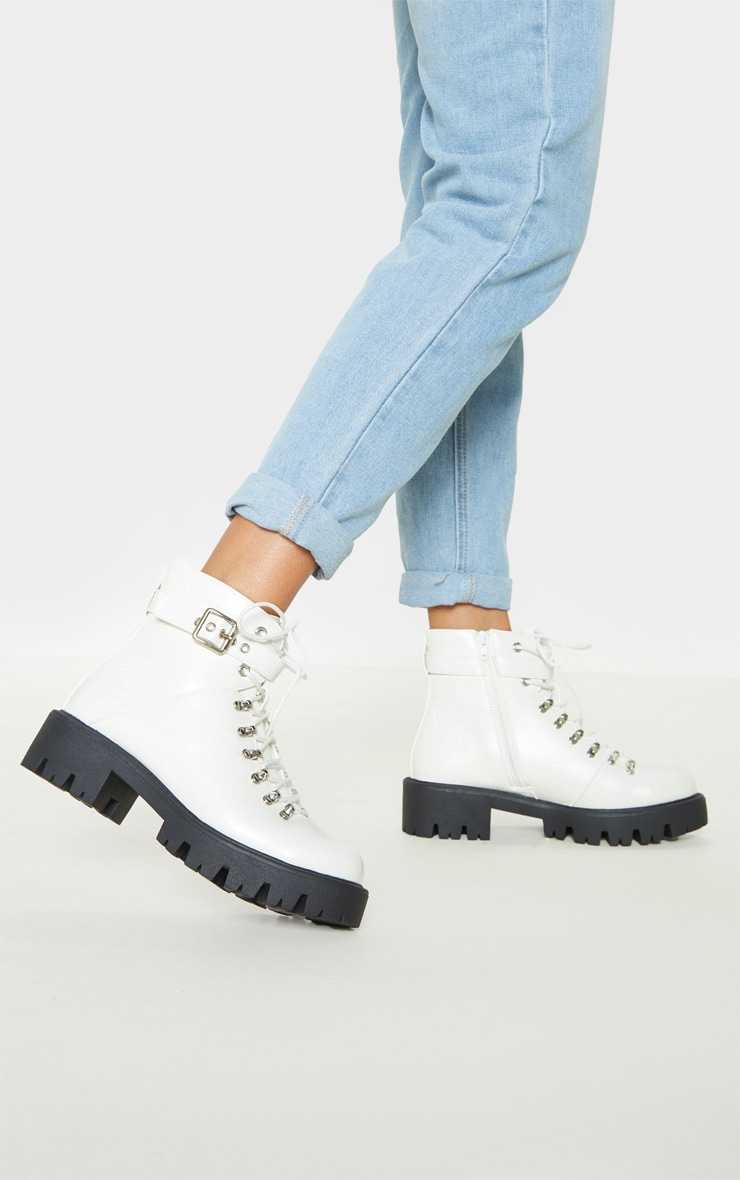 White Hiker Lace Up Ankle Buckle Boot 1