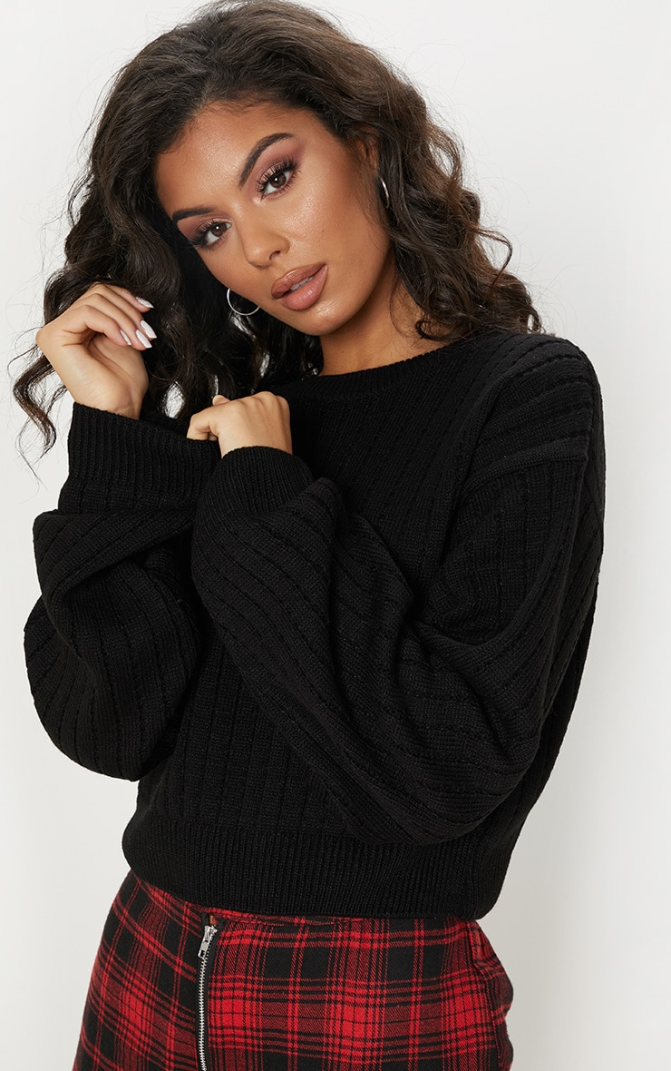 Black Ribbed Balloon Sleeve Cropped Sweater  5