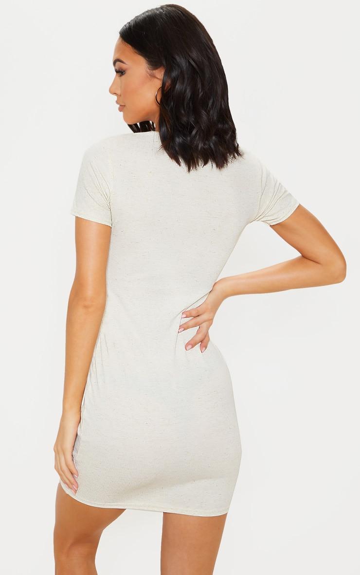 Oatmeal Soft Marl Rib Button Up Short Sleeve Bodycon Dress 2