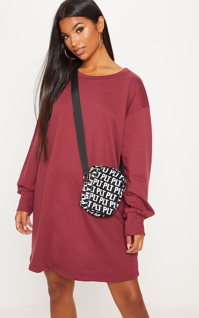 1cfffc74d2 Burgundy Oversized Sweater Dress