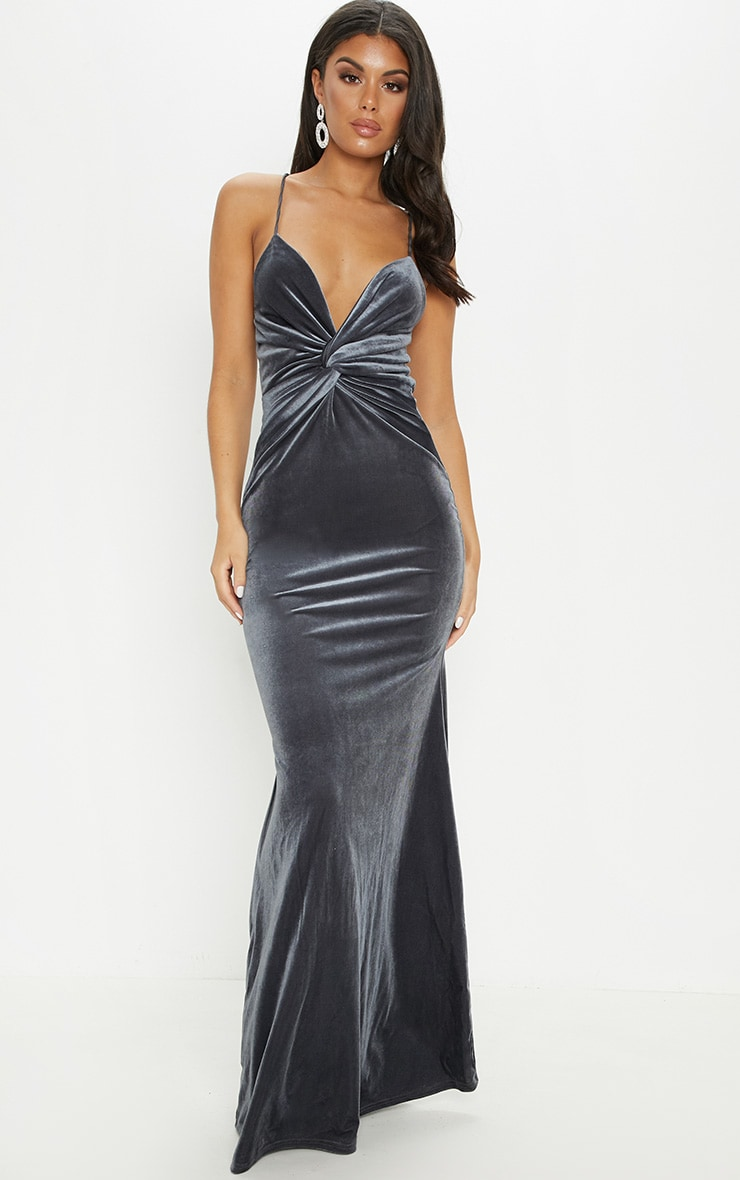 Silver Velvet Knot Front Maxi Dress