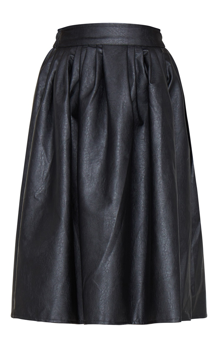 Black Faux Leather Pleated Midi Skirt 5