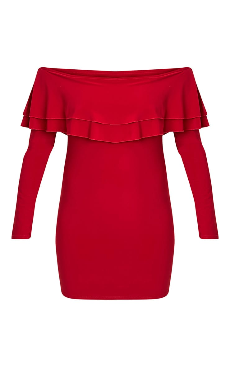 Leigha Red Slinky Frill Bardot Bodycon Dress 3