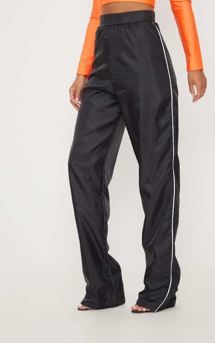 Black Contrast Binding Shell Wide Leg Trouser  4