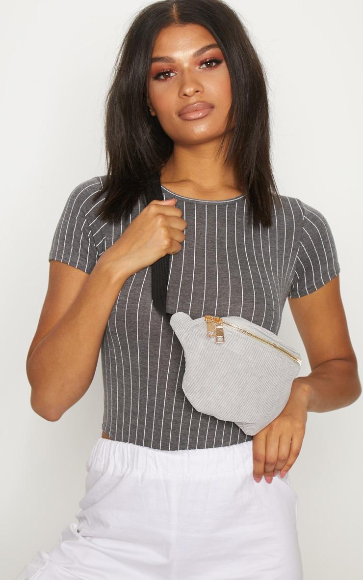 Charcoal Jersey Pinstripe Short Sleeve Bodysuit 1