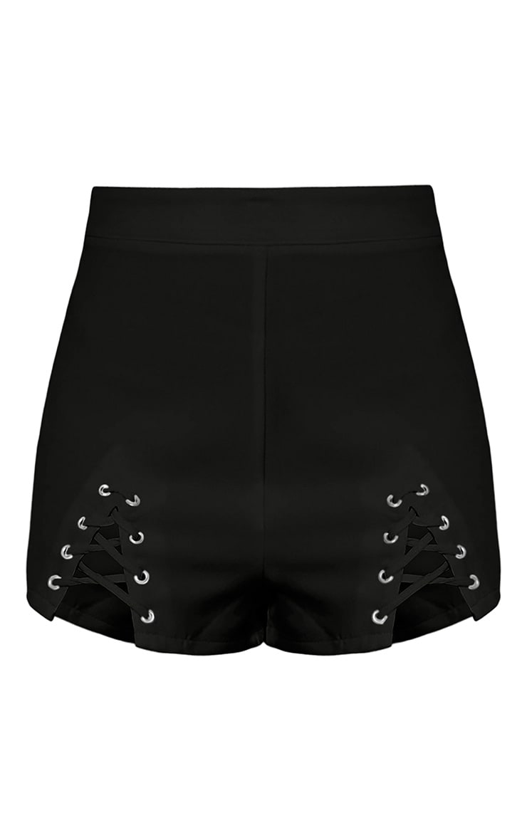 Aly Black Lace Up Hotpants 2