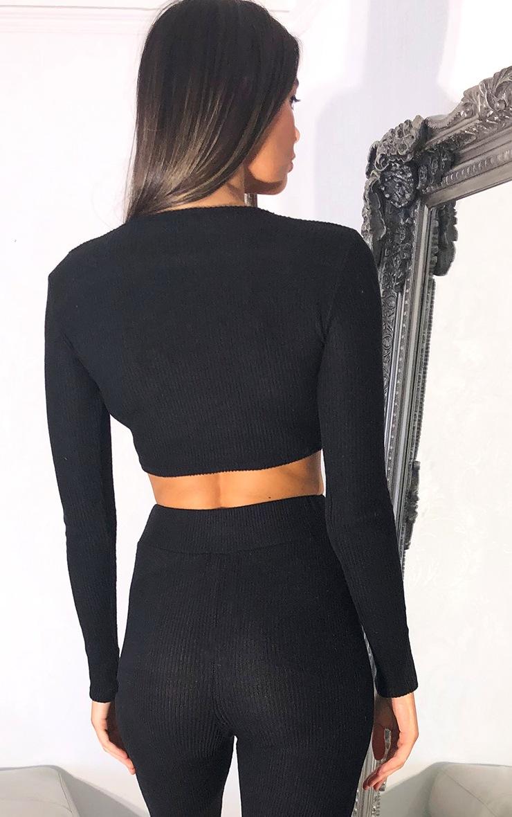 Black Brushed Rib V Neck Long Sleeved Crop Top 2