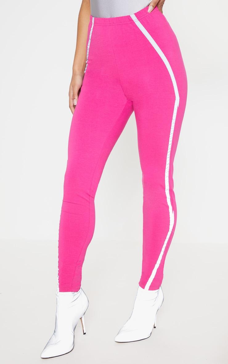 Hot Pink Reflective Tape Legging  2