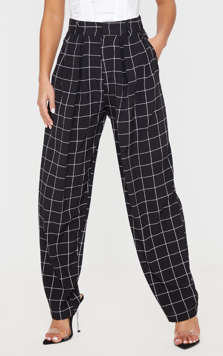 Petite Black Checked Woven High Waisted Balloon Leg Pants 2