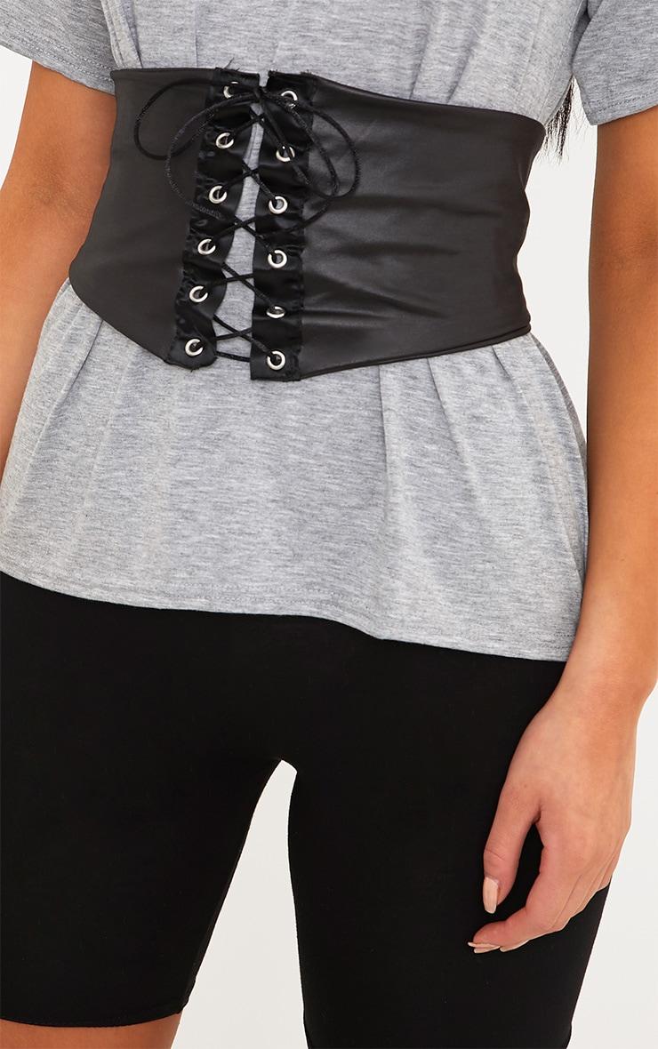 Leanora Grey PU Corset Detail T Shirt 5