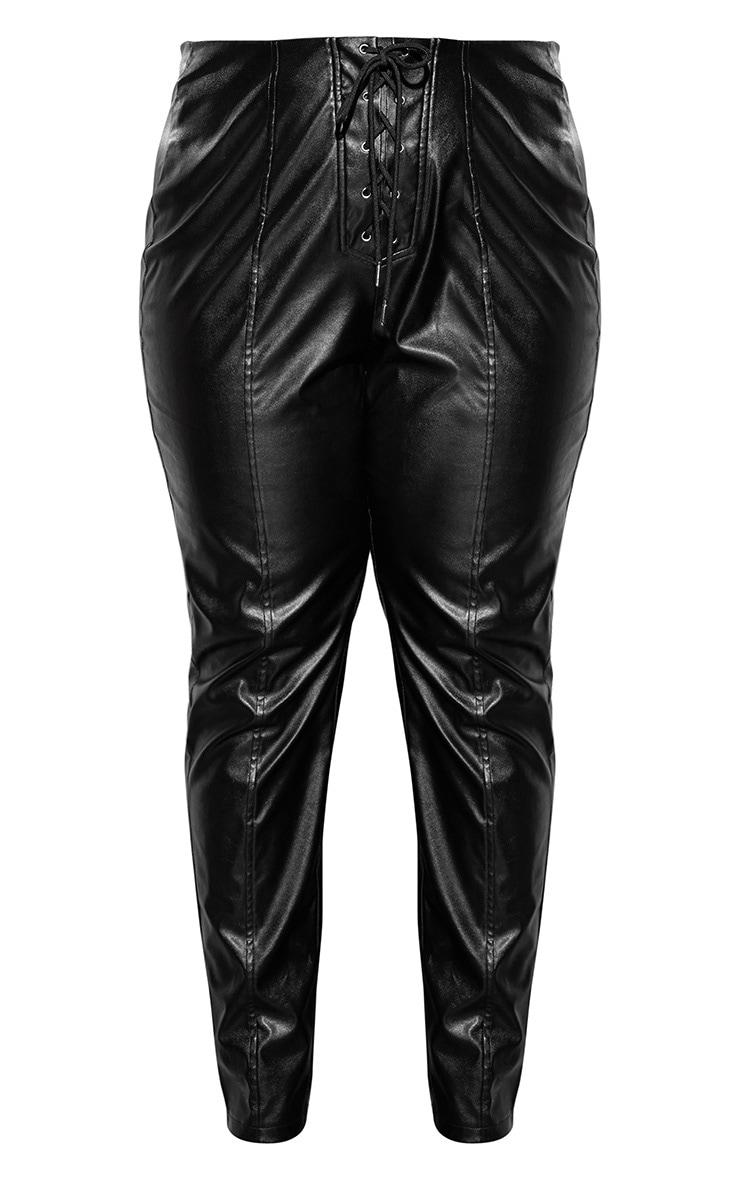 Plus Black Lace Up PU Skinny Trouser 3