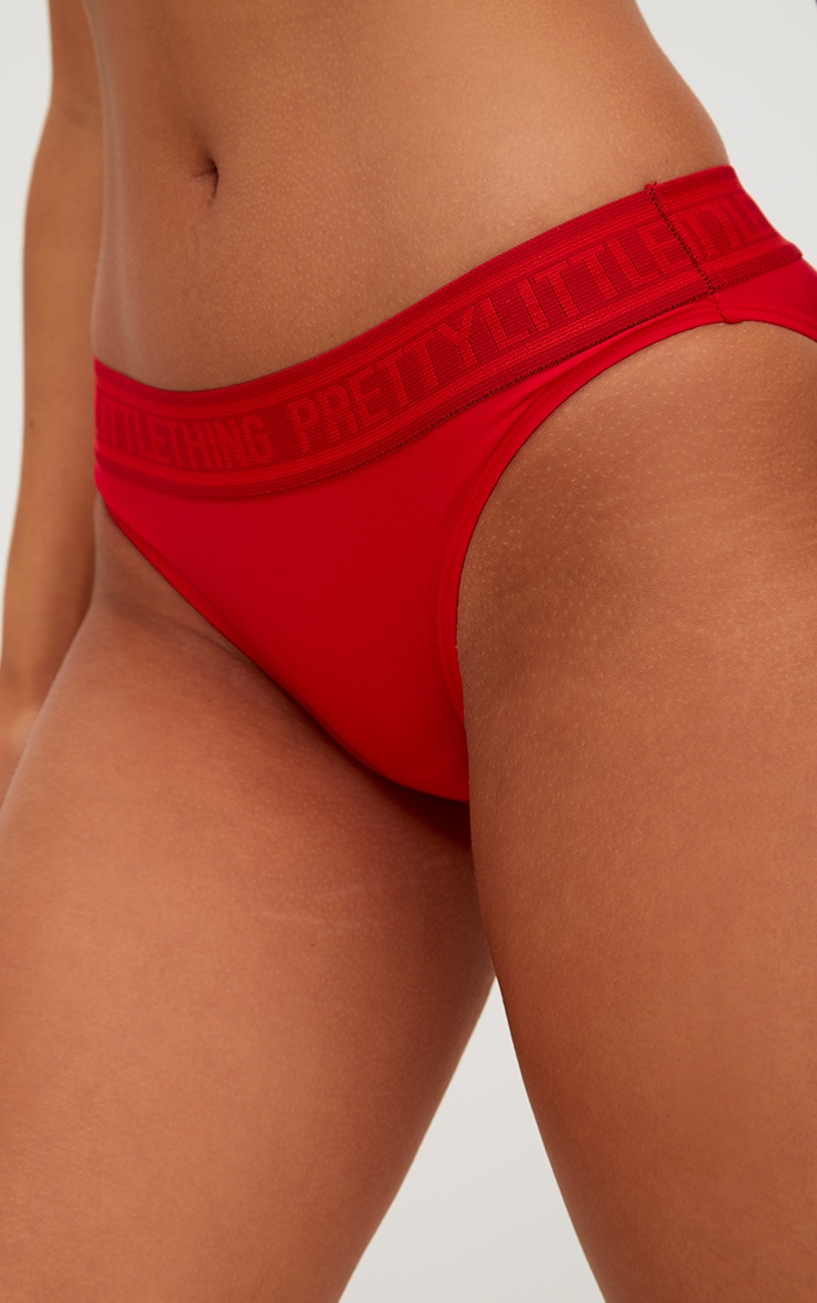 PRETTYLITTLETHING Red Hipster Bikini Bottoms 6
