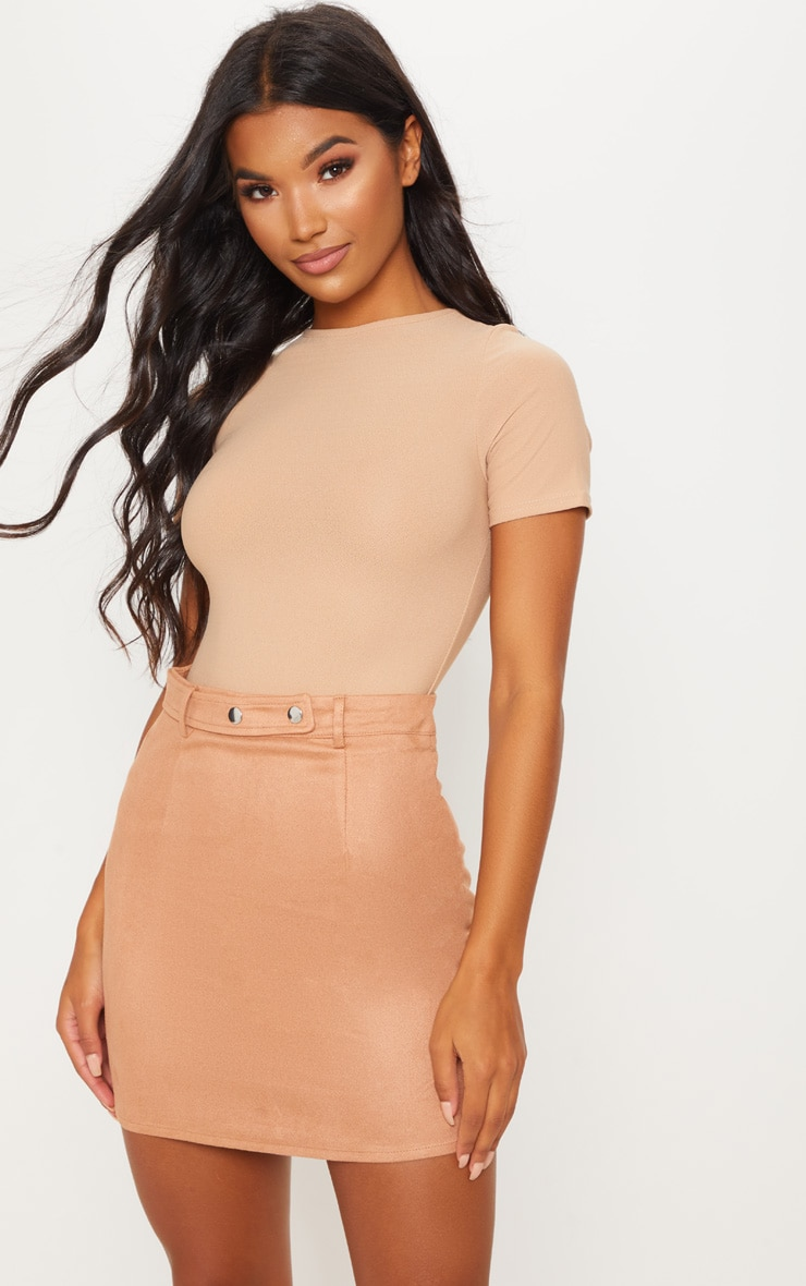 Tan Faux Suede Popper Detail Mini Skirt
