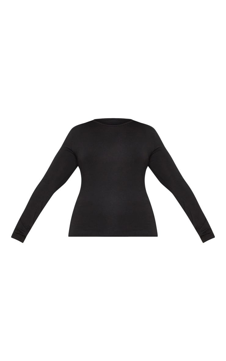 Plus Black Long Sleeve Fitted T Shirt 3