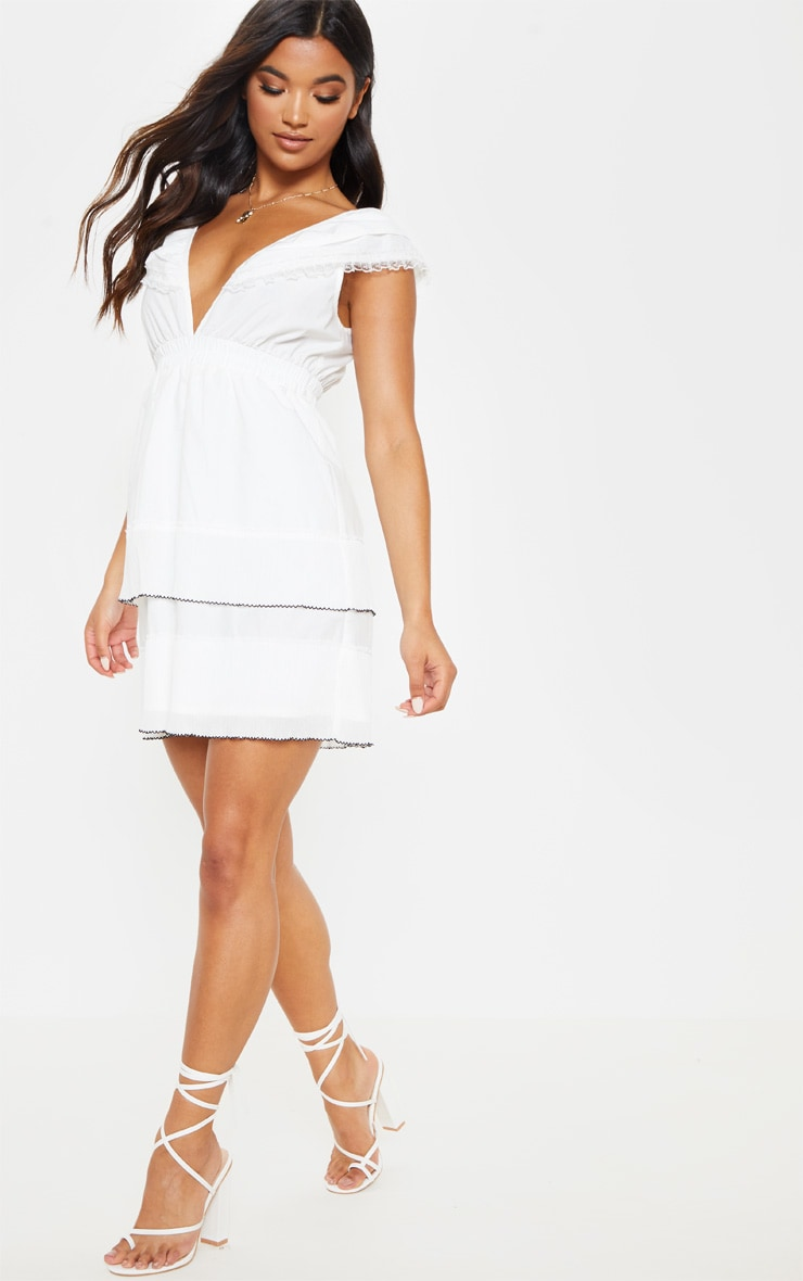 White Tiered Ruffle Shift Dress 1