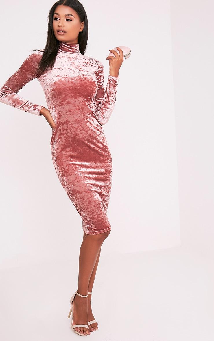 Amlia Rose Velvet High Neck Midi Dress 5