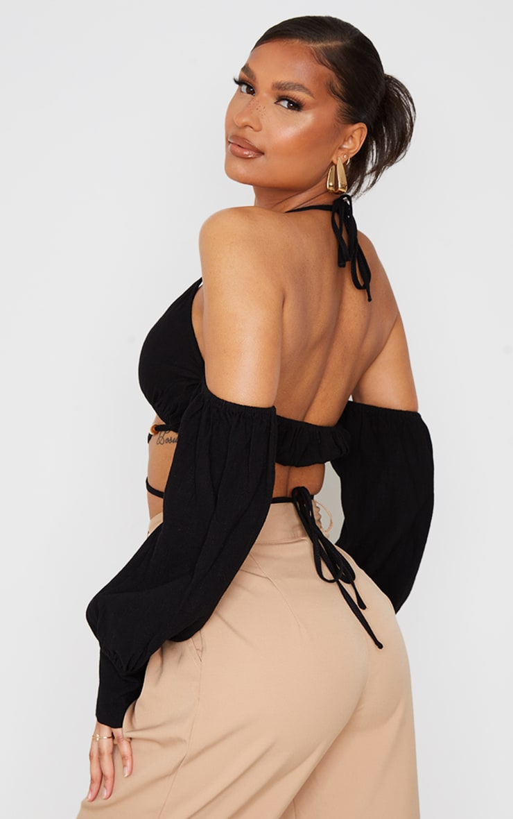 Black Linen Look Bardot Oversized Sleeve Halter Crop Top 2