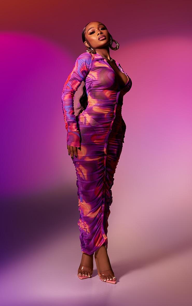 Petite Pink Hyper Squiggle Ruched Mesh Midi Dress 1